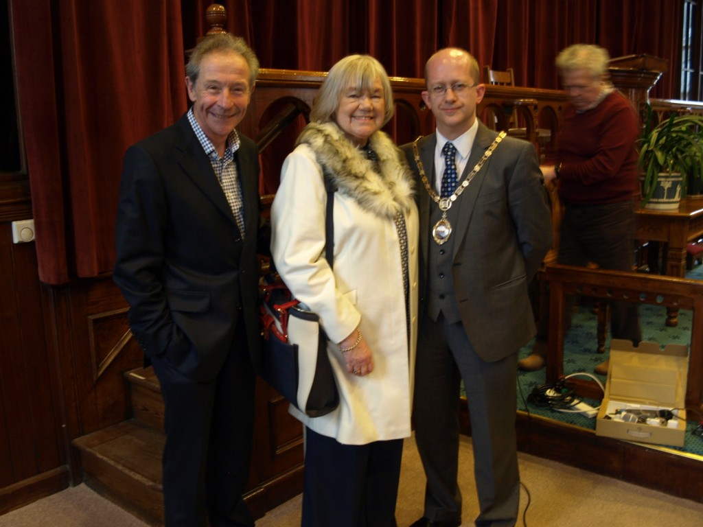 Speaker Geoff Carter, Chair Jean Pearson and Mayor of Hebden Royd Karl Boggis