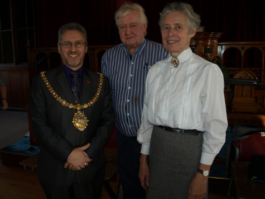 Chairman Keith Coates with Todmorden Mayor Michael Gill and speaker Diana Monahan
